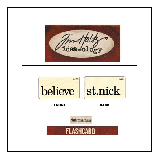 Idea-ology Mini Flash Card Christmastime Black Text Believe and St. Nick by Tim Holtz