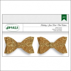 American Crafts Details Gold Glitter Bows Holiday