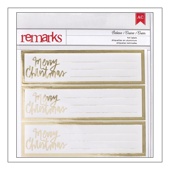 American Crafts Remarks Believe Gold Foil Label Stickers Merry Christmas Deck The Halls Collection