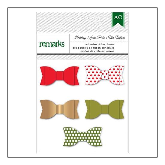 American Crafts Remarks Adhesive Ribbon Bows Holiday Set 2