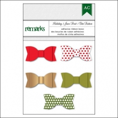 American Crafts Remarks Adhesive Ribbon Bows Holiday Set 2