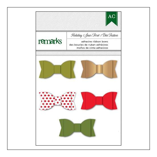 American Crafts Remarks Adhesive Ribbon Bows Holiday Set 1