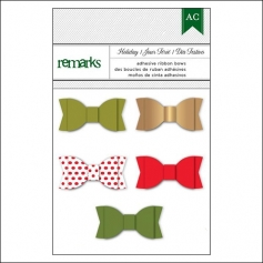 American Crafts Remarks Adhesive Ribbon Bows Holiday Set 1