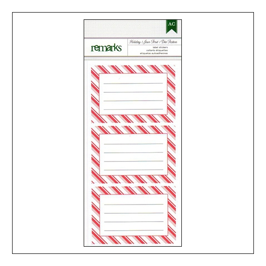 American Crafts Remarks Lined Label Stickers Candy Stripe Holiday