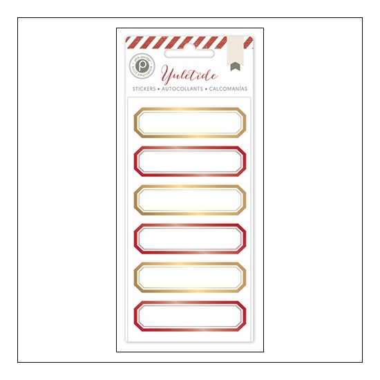 Pink Paislee Gold and Red Foil Glossy Label Stickers Yuletide Collection