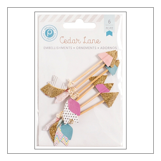 Pink Paislee Glittered Paper Arrow Embellishments Cedar Lane Collection