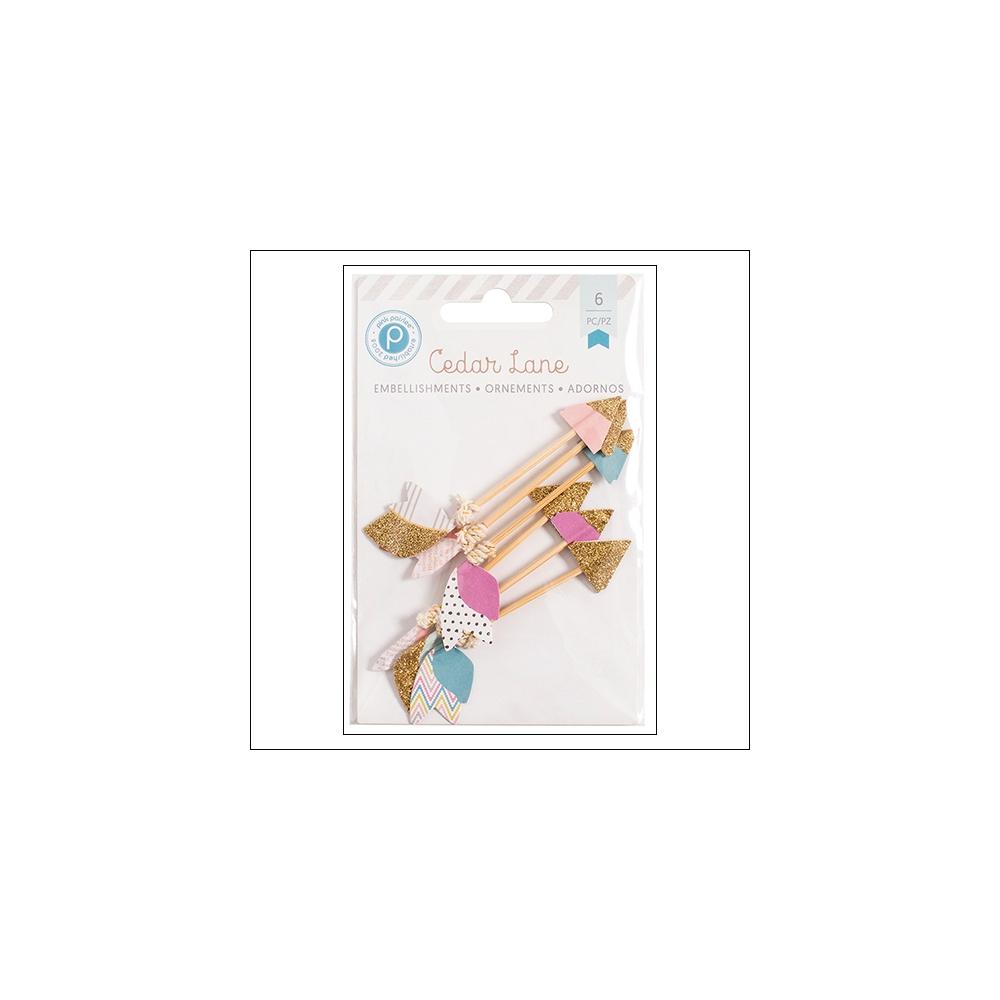 Pink Paislee Glittered Paper Arrow Embellishments Cedar Lane Collection