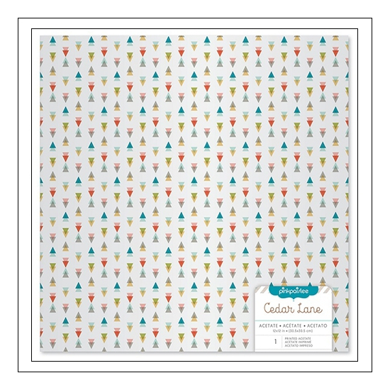 Pink Paislee Specialty Paper Sheet Acetate Triangles Cedar Lane Collection