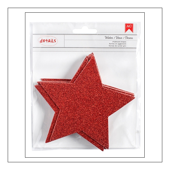 American Crafts Details Chipboard Red Glitter Stars Deck The Halls Collection