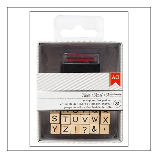 American Crafts Wood Mounted Rubber Stamps Alphabet and Symbols + Red Ink Pad Deck The Halls Collection