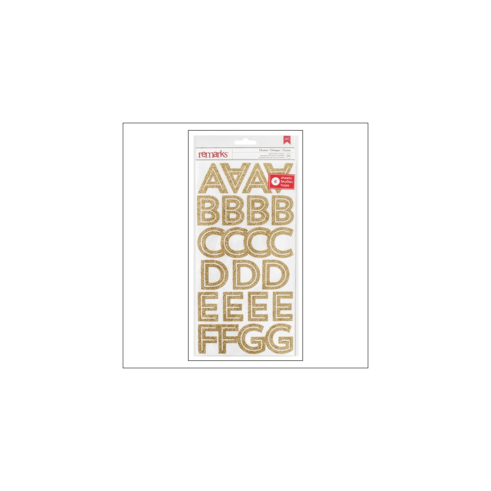 American Crafts Remarks Transparent Gold Glitter Alphabet Stickers Chestnut Deck The Halls Collection