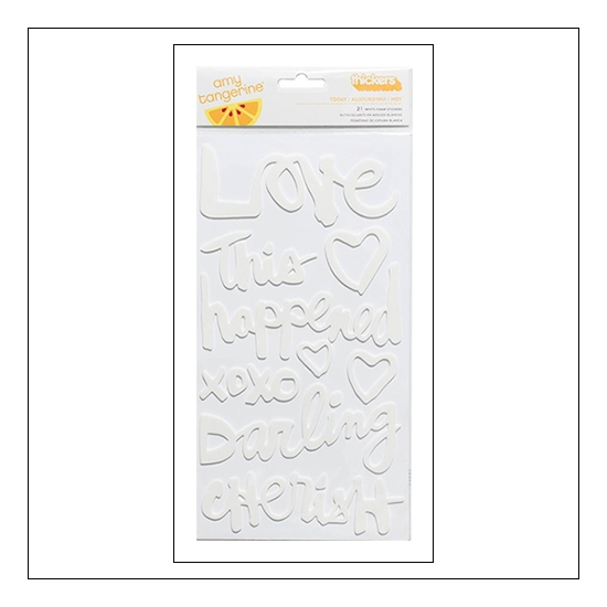 American Crafts Thicker Stickers Phrases Today White Foam Finders Keepers Collection by Amy Tangerine