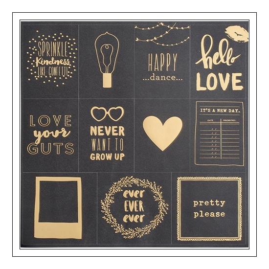 American Crafts Specialty Paper Sheet Black Gold Foil Pretty Please Documentary Collection by Dear Lizzy