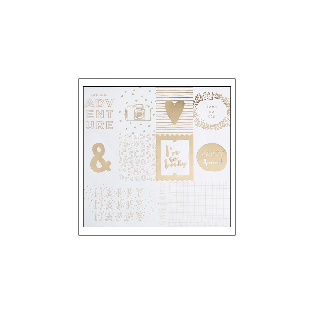 American Crafts Specialty Paper Transparent Sheet Gold Foil Heart Of Gold Documentary Collection by Dear Lizzy