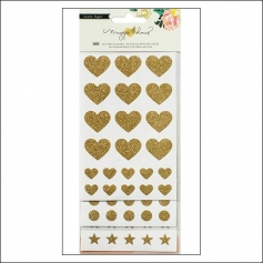 Crate Paper Gold Glittered Stickers Basics Hearts Circles and Stars Shine Collection by Maggie Holmes