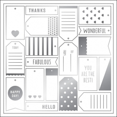 American Crafts Specialty Paper Transparent Sheet Silver Foil Tags DIY Shop 3 Collection