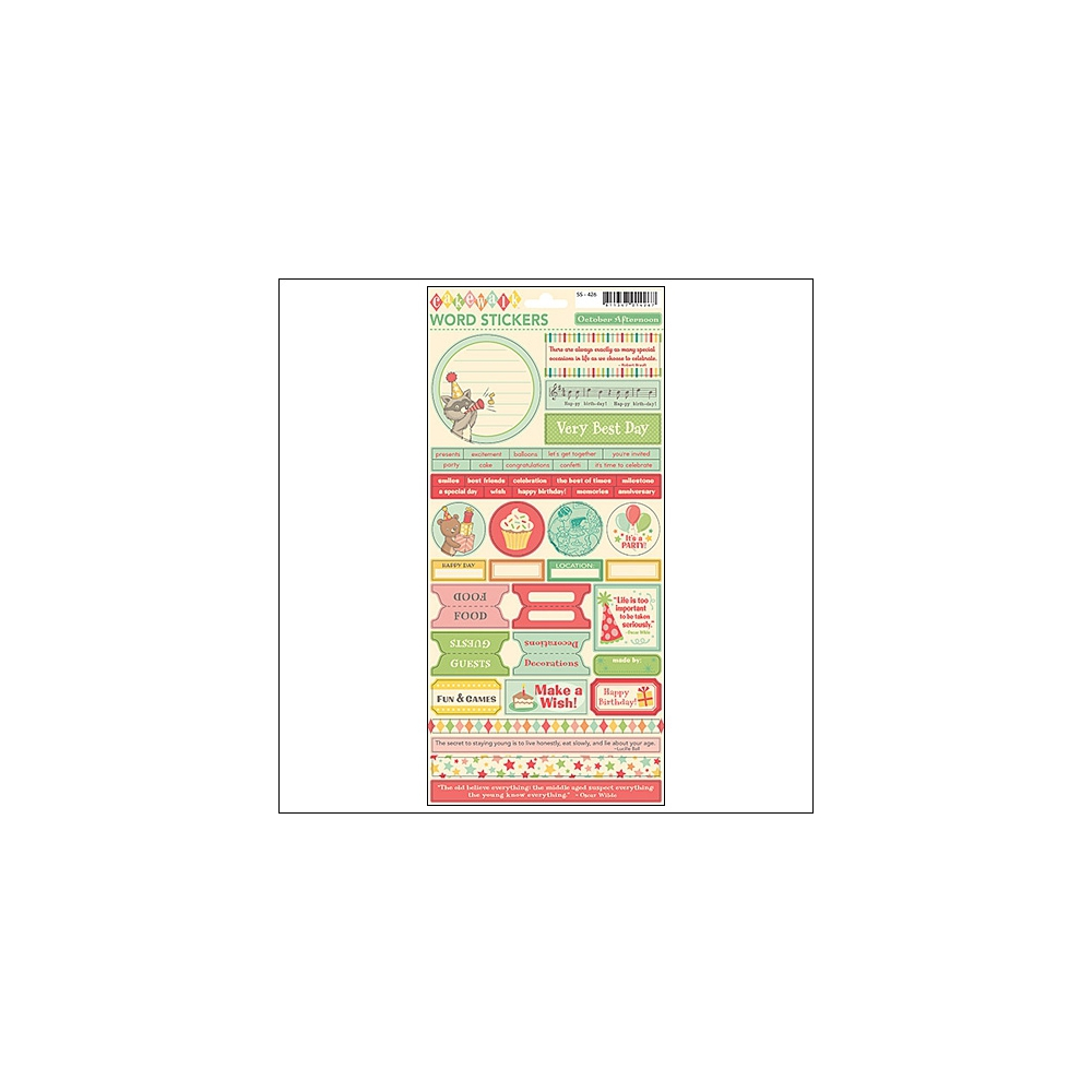 October Afternoon Word Stickers Cakewalk Collection