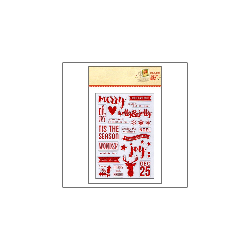 Simple Stories Clear Red Glitter Foil Sticker Sheet Christmas Claus and Co Collection