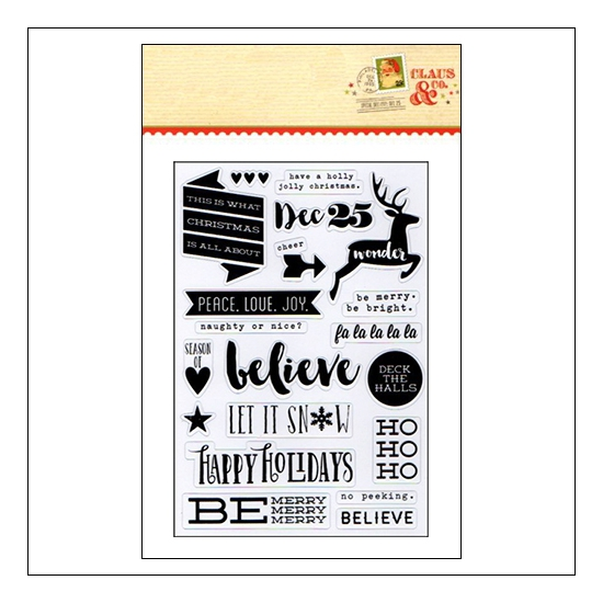 Simple Stories Clear Black Sticker Sheet Christmas Claus and Co Collection