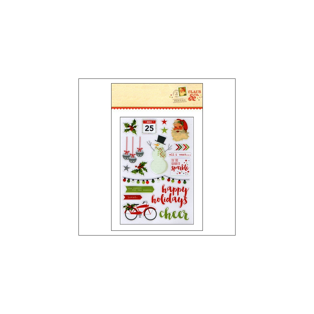 Simple Stories Clear Colored Sticker Sheet Christmas Claus and Co Collection