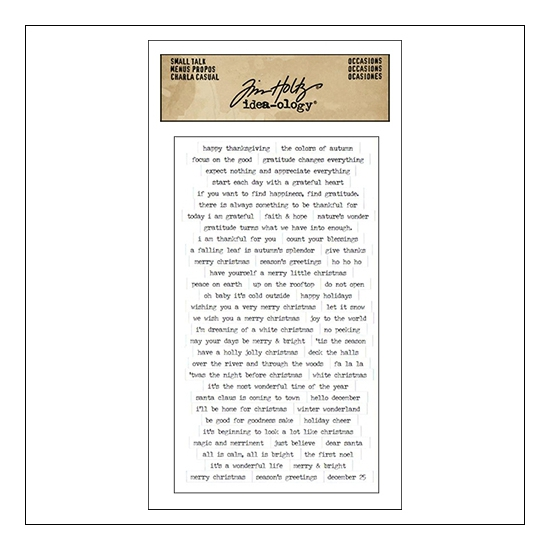 Advantus Small Talk Cardstock Sticker Sheet White Accasions by Tim Holtz Idea-ology