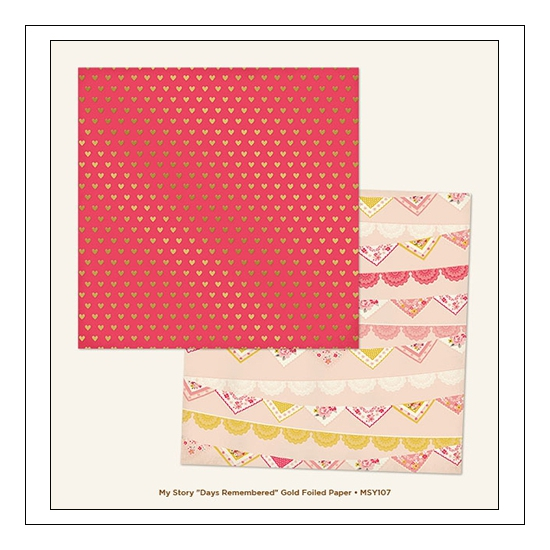 My Minds Eye Cardstock Paper Sheet Foiled Days Remembered My Story Collection by Dani Mogstad