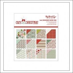 My Minds Eye Paper Pad 6x6 Red Glitter Accents Cozy Christmas Collection by Celeste Knight