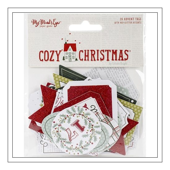 My Minds Eye Advent Tags Red Glitter Accents Cozy Christmas Collection by Celeste Knight