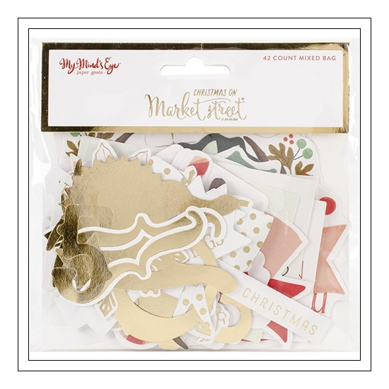 My Minds Eye Die Cuts Mixed Bag Gold Foil Accents Christmas on Market Street Collection by Jen Allyson