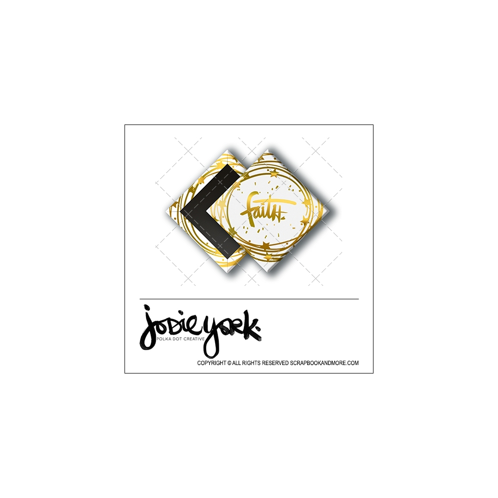 Scrapbook and More 1 inch Diamond Flair Badge Button Christmas White Gold Foil Faith by Jodie York Polka Dot Creative