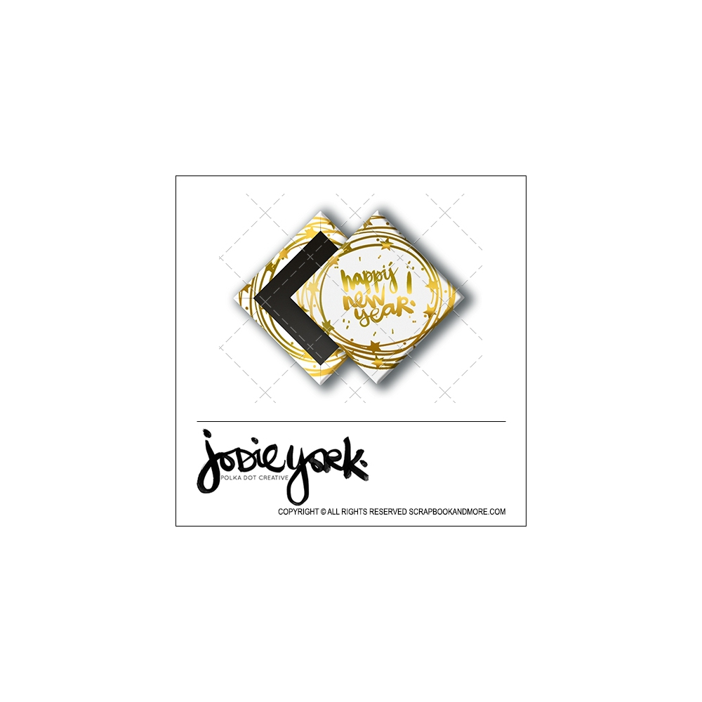 Scrapbook and More 1 inch Diamond Flair Badge Button Christmas White Gold Foil Happy New Year by Jodie York Polka Dot Creative