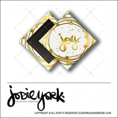 Scrapbook and More 1 inch Diamond Flair Badge Button Christmas White Gold Foil Joy by Jodie York Polka Dot Creative