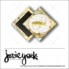 Scrapbook and More 1 inch Diamond Flair Badge Button Christmas White Gold Foil Magical by Jodie York Polka Dot Creative