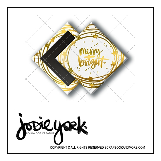 Scrapbook and More 1 inch Diamond Flair Badge Button Christmas White Gold Foil Merry and Bright by Jodie York Polka Dot Creative