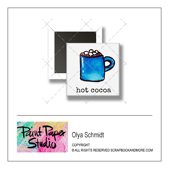 Scrapbook and More 1 inch Square Flair Badge Button Christmas Hot Cocoa by Olya Schmidt
