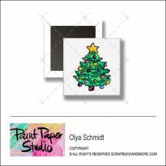 Scrapbook and More 1 inch Square Flair Badge Button Christmas Tree by Olya Schmidt