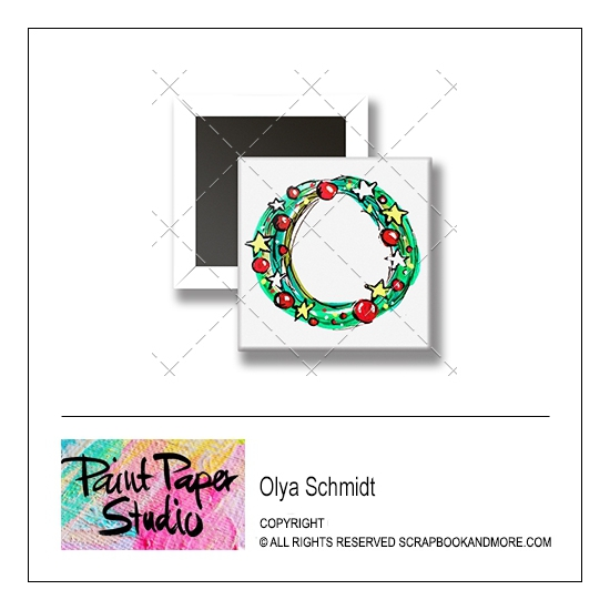 Scrapbook and More 1 inch Square Flair Badge Button Christmas Wreath by Olya Schmidt