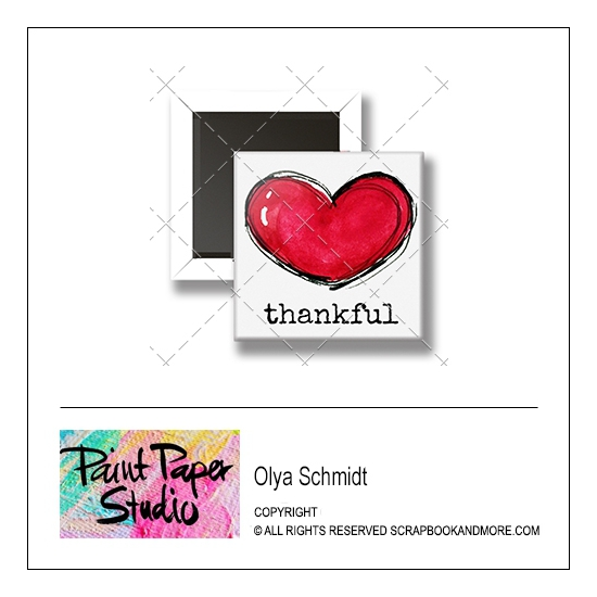 Scrapbook and More 1 inch Square Flair Badge Button Thankful by Olya Schmidt