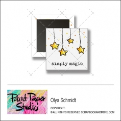 Scrapbook and More 1 inch Square Flair Badge Button Christmas Simply Magic by Olya Schmidt