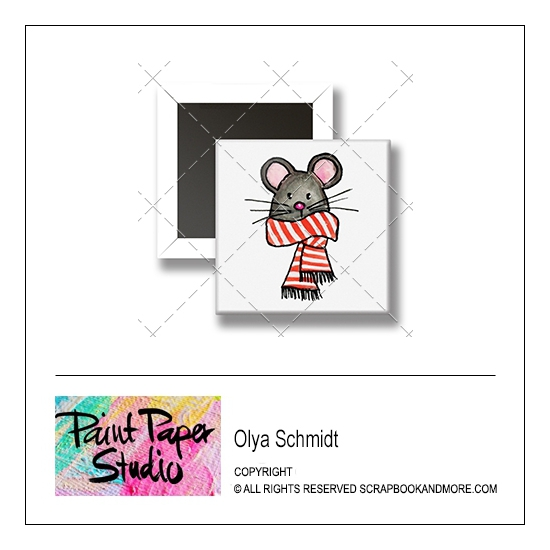 Scrapbook and More 1 inch Square Flair Badge Button Christmas Mouse by Olya Schmidt