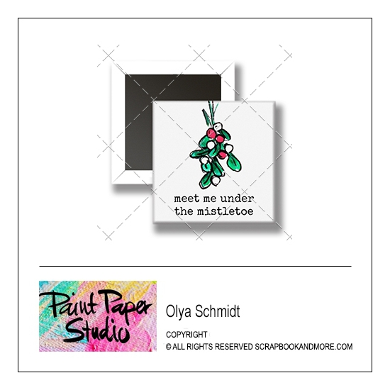 Scrapbook and More 1 inch Square Flair Badge Button Christmas Meet Me Under The Mistletoe by Olya Schmidt