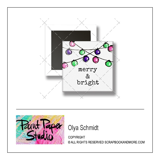 Scrapbook and More 1 inch Square Flair Badge Button Christmas Merry and Bright by Olya Schmidt