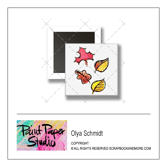 Scrapbook and More 1 inch Square Flair Badge Button Leaves by Olya Schmidt