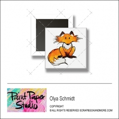 Scrapbook and More 1 inch Square Flair Badge Button Fox by Olya Schmidt