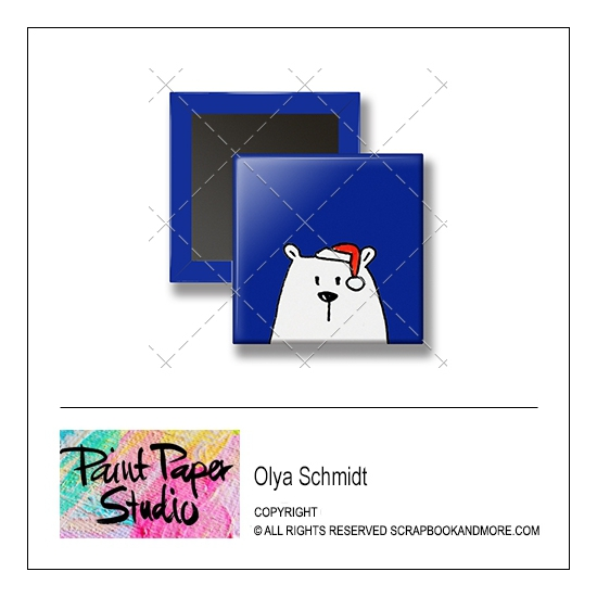 Scrapbook and More 1 inch Square Flair Badge Button Christmas Bear by Olya Schmidt