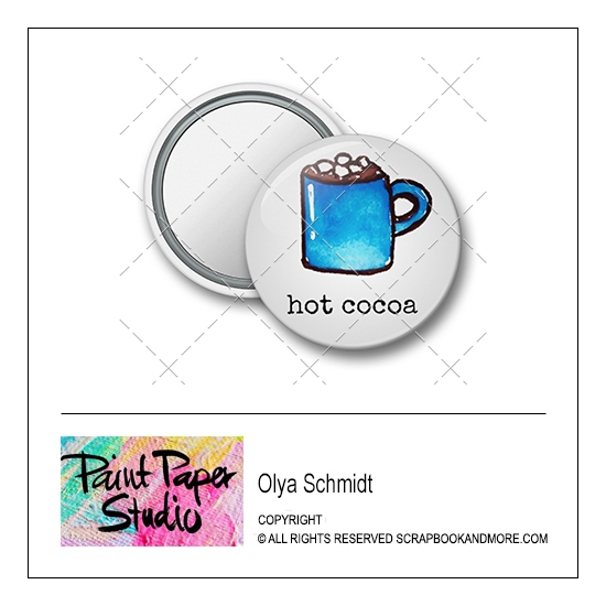 Scrapbook and More 1.25 inch Round Flair Badge Button Christmas Hot Cocoa by Olya Schmidt