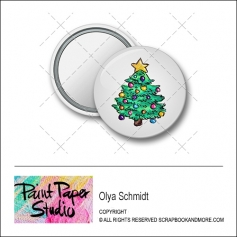 Scrapbook and More 1.25 inch Round Flair Badge Button Christmas Tree by Olya Schmidt