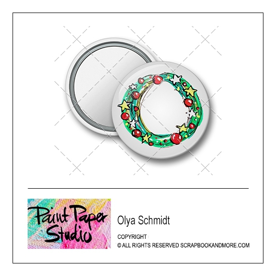 Scrapbook and More 1.25 inch Round Flair Badge Button Christmas Wreath by Olya Schmidt