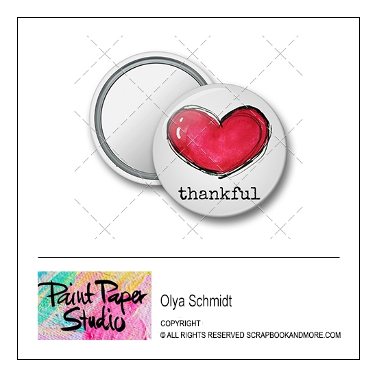 Scrapbook and More 1.25 inch Round Flair Badge Button Thankful by Olya Schmidt