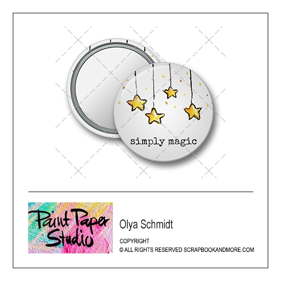 Scrapbook and More 1.25 inch Round Flair Badge Button Christmas Simply Magic by Olya Schmidt
